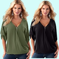 7 Colours Plus Size S to 2XL Chiffon V-neck Roll Sleeve Women's Shirt In The Cage Casual Large size de inverno