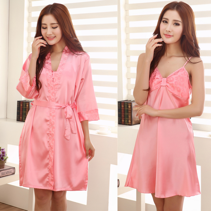 Wholesale J1507236 Woman Summer Satin Nightgown Robes Set, Female Pink Plus Size Silk Robe Ladies' Sexy Nightdress Robes(China (Mainland))