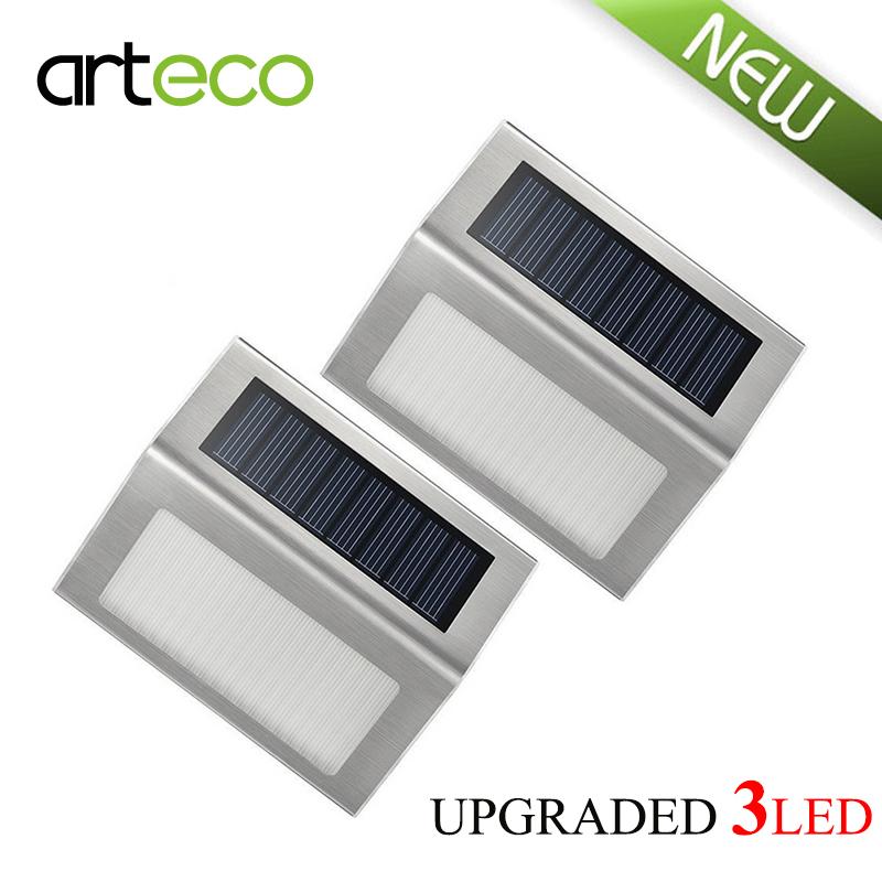 2PCS/LOT New Upgraded 3LEDs Solar Light Solar Stairways light Waterproof Outdoor Garden Lights Landscape Lawn Solar Wall Light(China (Mainland))