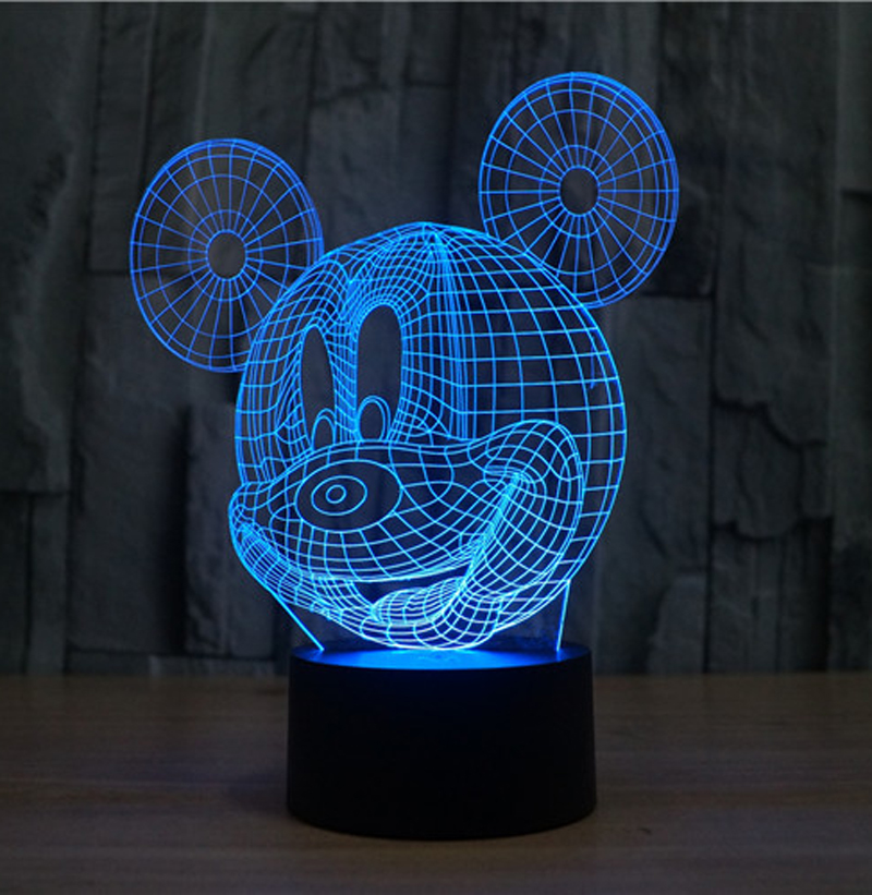 The Mickey Mouse 3D LED Night Light Acrylic Colorful Atmosphere Lamp With USB Line 7 Light Colors(China (Mainland))