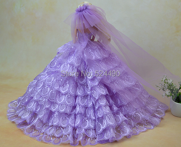 Marriage ceremony Costume + Veil + Garland + Bouquet/set Purple Multi-layers Lace Spherical Large Bride Robe Clothes Outfit For Kurhn Barbie Doll