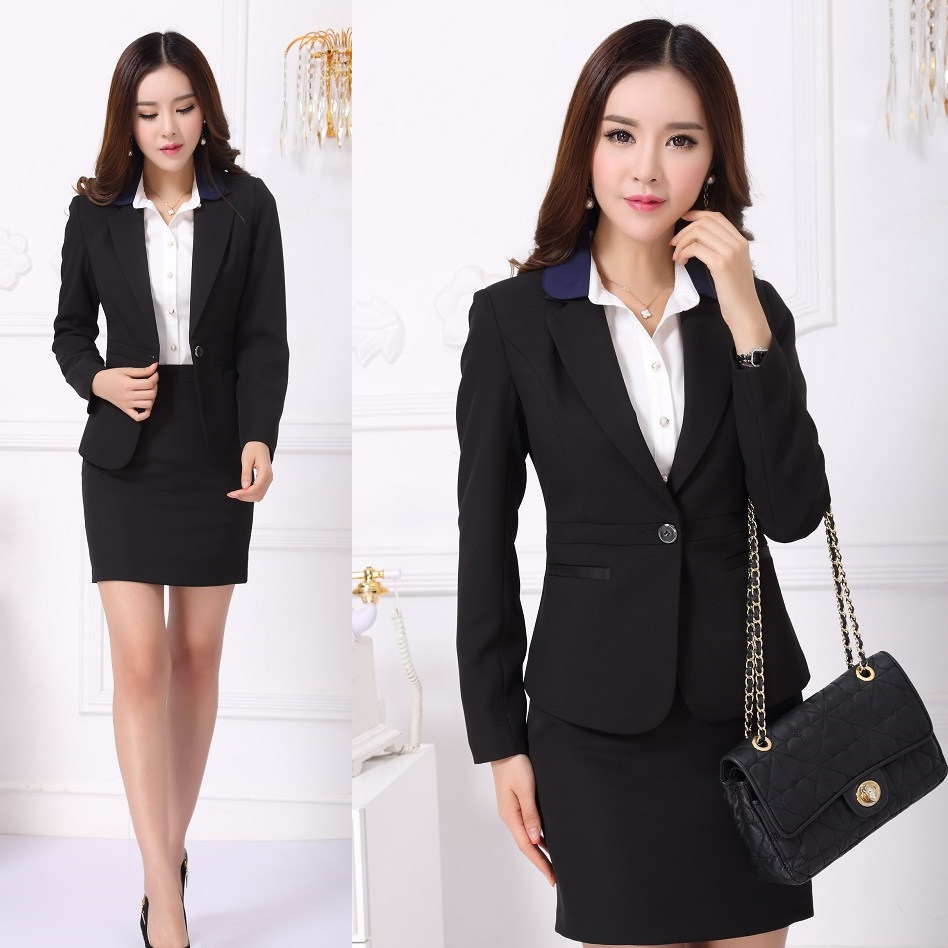 Formal office uniform designs women skirt suits blazer for Office uniform design 2014