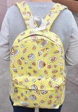 New Amine Gudetama egg yolk Jun Canvas School Backpack Children Portable Travel Bags 39*30*12CM Kids Christmas Gifts(China (Mainland))