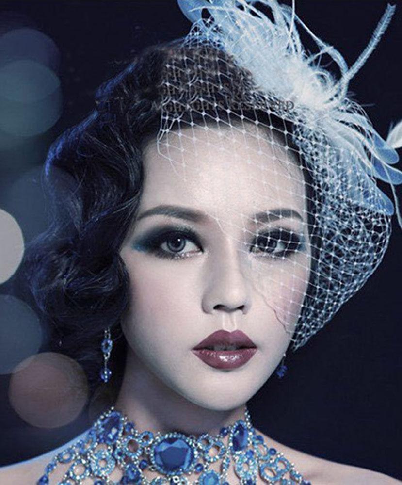 100% hand made top quality Wedding headdress bride beaded Bridal feather hairwear hair hoop fashion headpins(China (Mainland))