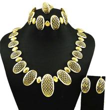 dubai gold plated jewelry women fashion necklace fine jewelry sets women necklace 24k gold jewelry sets(China (Mainland))