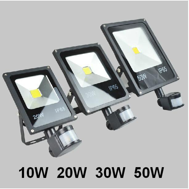 (Free Express) 85-265v 10W 20W 30W 50W 70W 100W Outdoor LED Flood light lamp with Motion detective Sensor PIR LED Floodlight(China (Mainland))