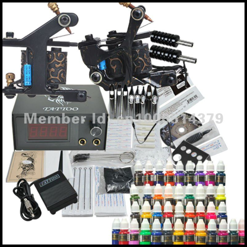 Complete Tattoo Kit 2 Machines Gun 40 Color Inks Power Supply Needles<br><br>Aliexpress
