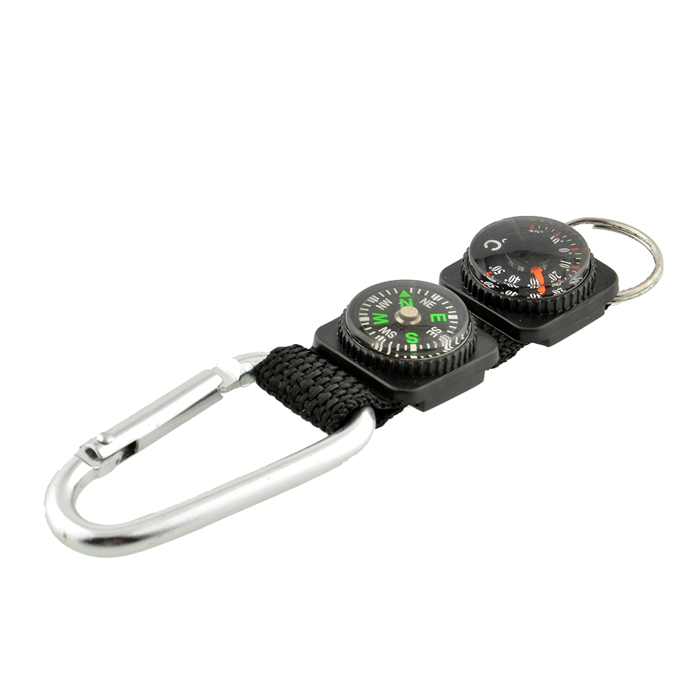 Multifunction Tool Camping Climbing Hiking Mini Carabiner w/ Keychain Compass Thermometer hanger Key Ring 3 in 1 Black(China (Mainland))