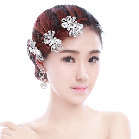 Colour bride hair accessory hair accessory hairpin rhinestone married short hair accessories(China (Mainland))