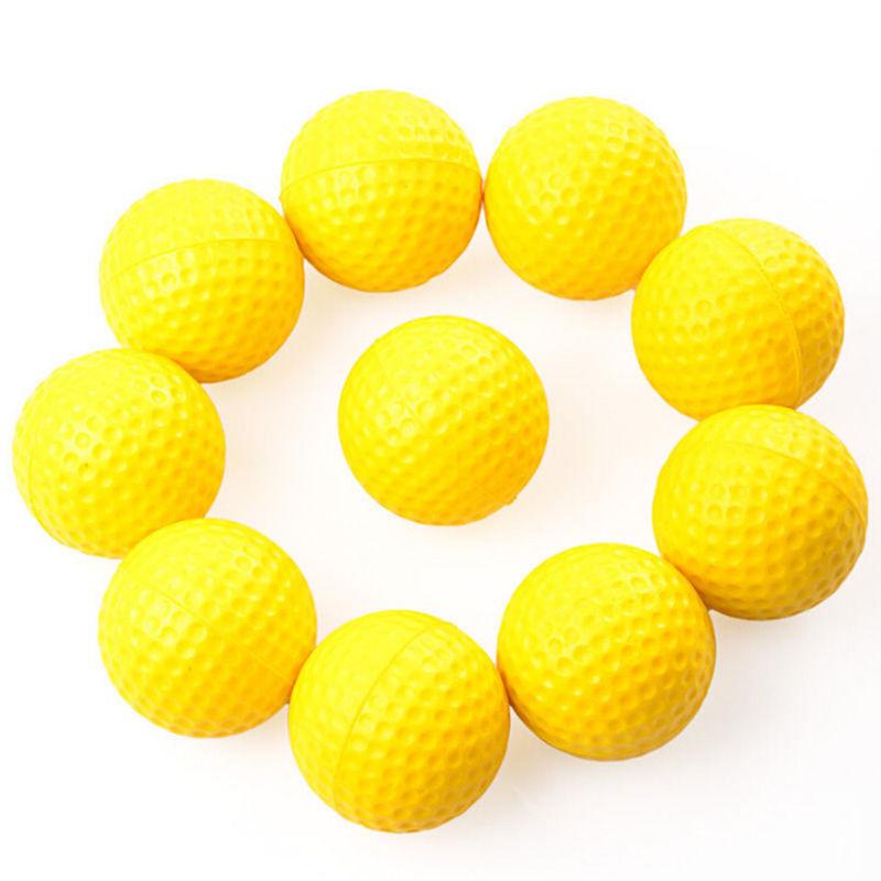 10pcs Delicate Outdoor sports Yellow Plastic Soft Elastic Golf Balls Golf Practice Training Balls Training Aid(China (Mainland))