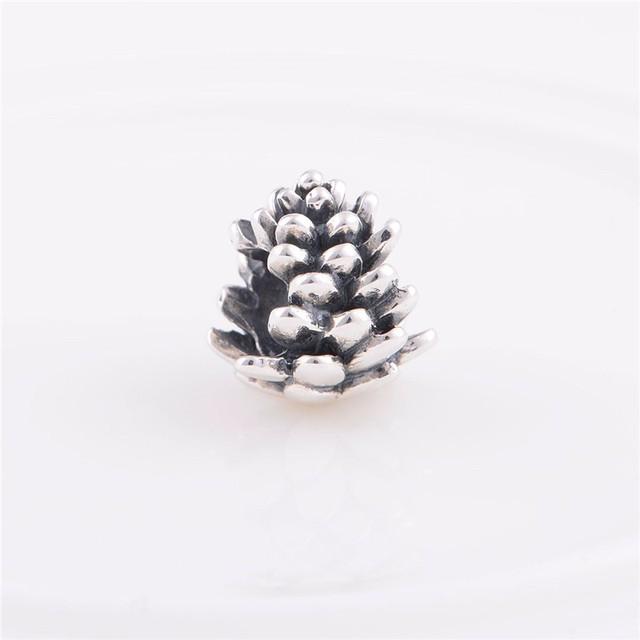 Стерлингового серебра 925 бусины европейский шарм круглый шишка цветочным узором женщин DIY ювелирных изделий подходит Chamilia стиль браслет