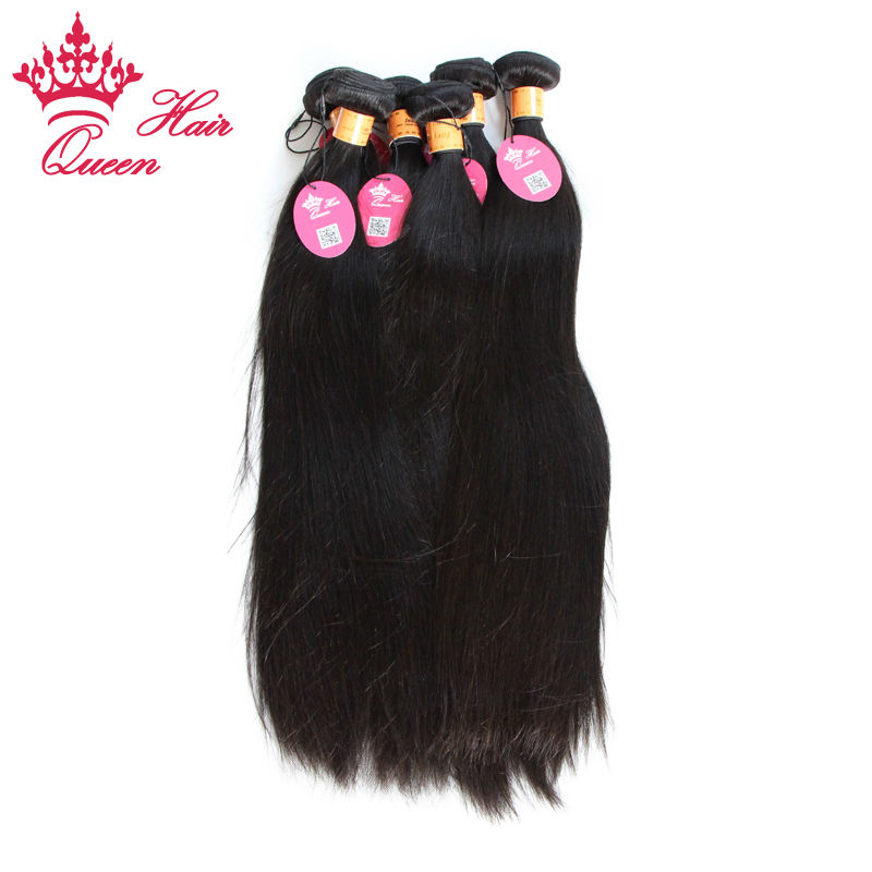 Queen Hair Products Wholesale Indian Virgin Straight Hair Unprocessed Human Hair Natural Color #1b Hair Weft 10pcs/Lot