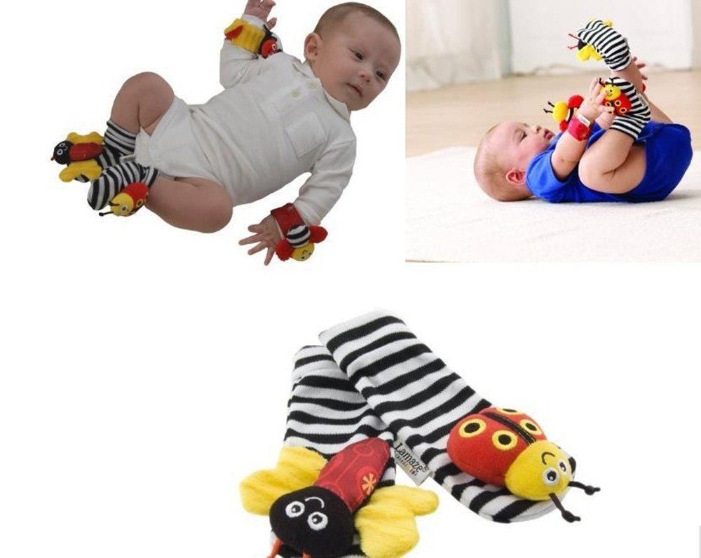 2016 new (4pcs=2 pcs waist+2 pcs socks)/lot,baby rattle toys lamaz Garden Bug Wrist Rattle and Foot Socks(China (Mainland))