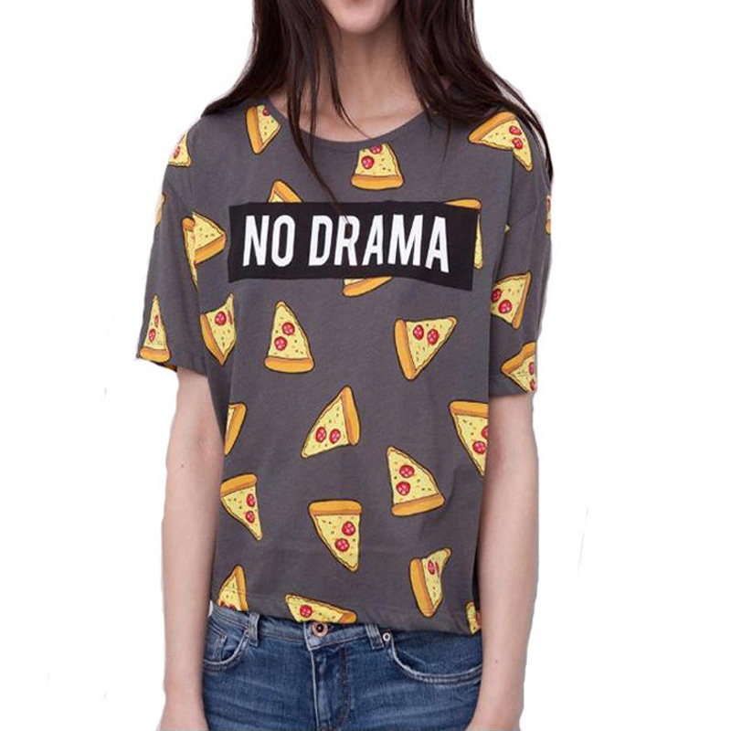Womens T-shirts Pizza Letters Print T-shirt Cute Cake Tops Short Sleeve Shirts Casual Tops Junior Girl Funny Clothes 2016 New(China (Mainland))