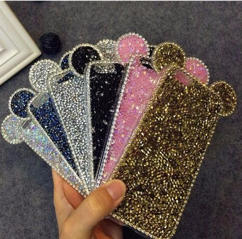 3D Micky Shinny Mouth Ear Glitter TPU Diamond Crystal Shell Cover For APPLE iPhone 6 7 6plus 6s plus New Hot Fashion Phone Cases(China (Mainland))
