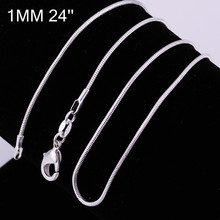 1MM 16 24 free shipping silver 925 necklace silvers snake chain necklace Silver jewelry wholesale fashion