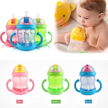 240ml Baby Bottle Kids Children Learn Feeding Drinking Water Straw Handle Bottle Training Cup 3 Colors(China (Mainland))