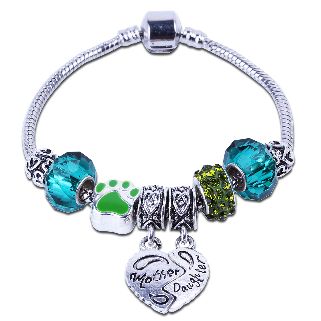 Fashion European Green Crystal Mother Daughter Charm Bracelet DIY Beads Fits Original Bracelets & bangles Wholesale For Women(China (Mainland))