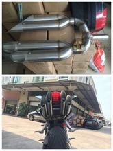 Free Shipping High Quality Modified Pedal Motorcycle Dual Muffler Exhaust Pipe End Tip Tailpipe for BJ600 R1 Motorcycle Parts(China (Mainland))