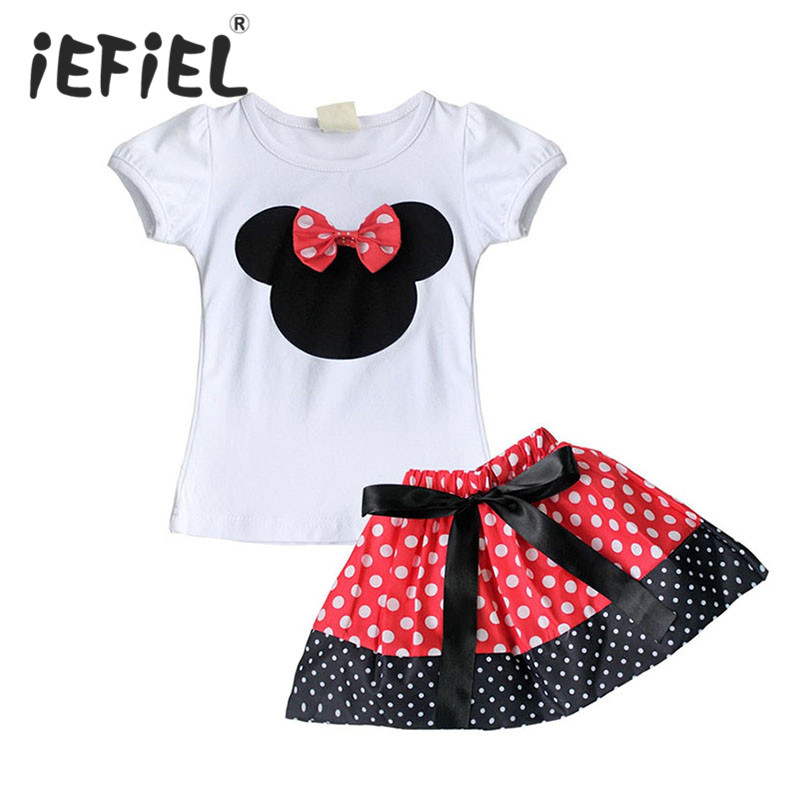 Baby Toddler Girls Dress Summer Clothing Set Kids Minnie Mouse Bow Skirt / Bloomers Top T-shirt Outfit Set Micky Outfits Clothes(China (Mainland))