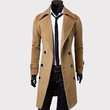 Мужской Траншеи Пальто Мужчины Классический Двубортный Траншеи Пальто Мужской Одежды Длинные Толстые Куртки Пальто Британский Стиль Пальто 4XL(China (Mainland))