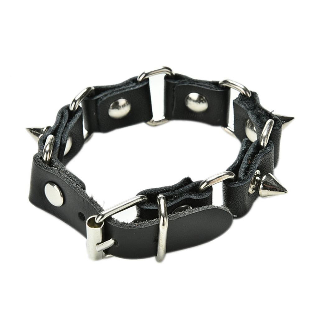 Punk style Cool Wolf Tooth Bangle Cuff Bracelet Gothic Metal Cone Stud Spikes Rivet Leather Wristband(China (Mainland))