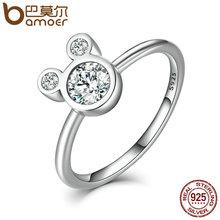 Bamoer новое прибытие аутентичные 100% стерлингового серебра 925 ослепительная miky мыши кольца для женщин ювелирные изделия стерлингового серебра scr032(China (Mainland))