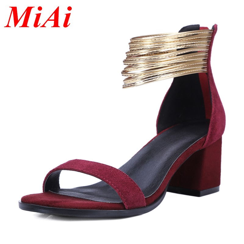 2016 new fashion summer genuine leather shoes woman sandals square high heels open toe black casual shoes for women size 34-39<br><br>Aliexpress