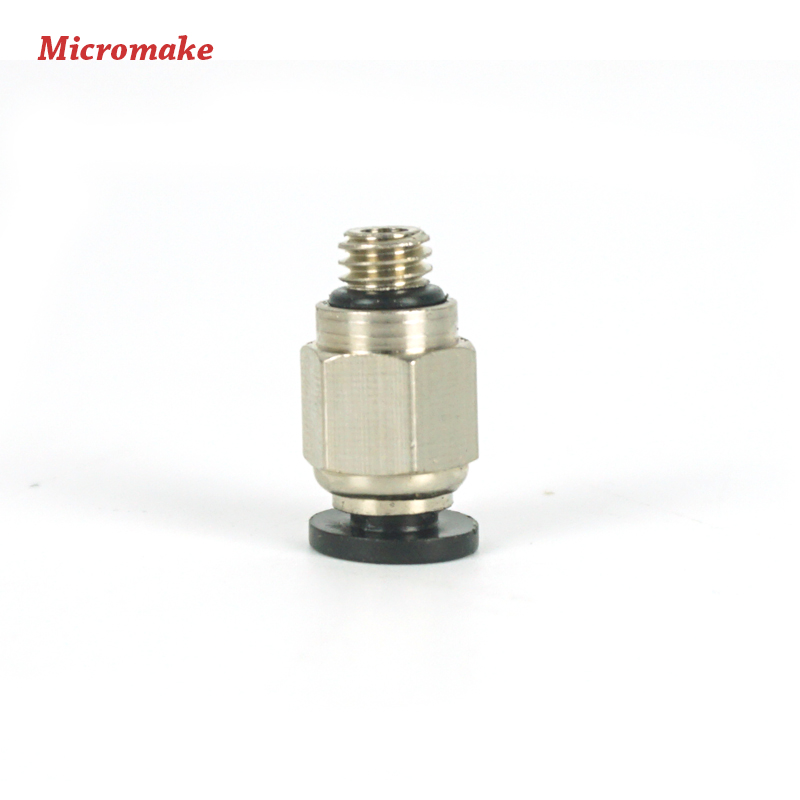 Micromake 3D Printer Parts 10pcs/lot PC4-M6 Connector for K800 PTFE Tube Connector For J-head Fittings Reprap Hotend Fit(China (Mainland))