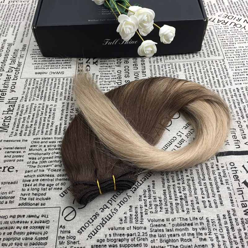 Full Shine 2016 Cheap Wholesale New Fall Fashion 100 Real Human Hair Extensions Ombre Color #4#18 Sew in Human Hair Weave