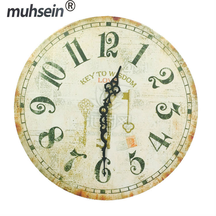 Best Deal New European Style Vintage Creative Round Wood Wall Clock Quartz Bracket Clock unique gift(China (Mainland))