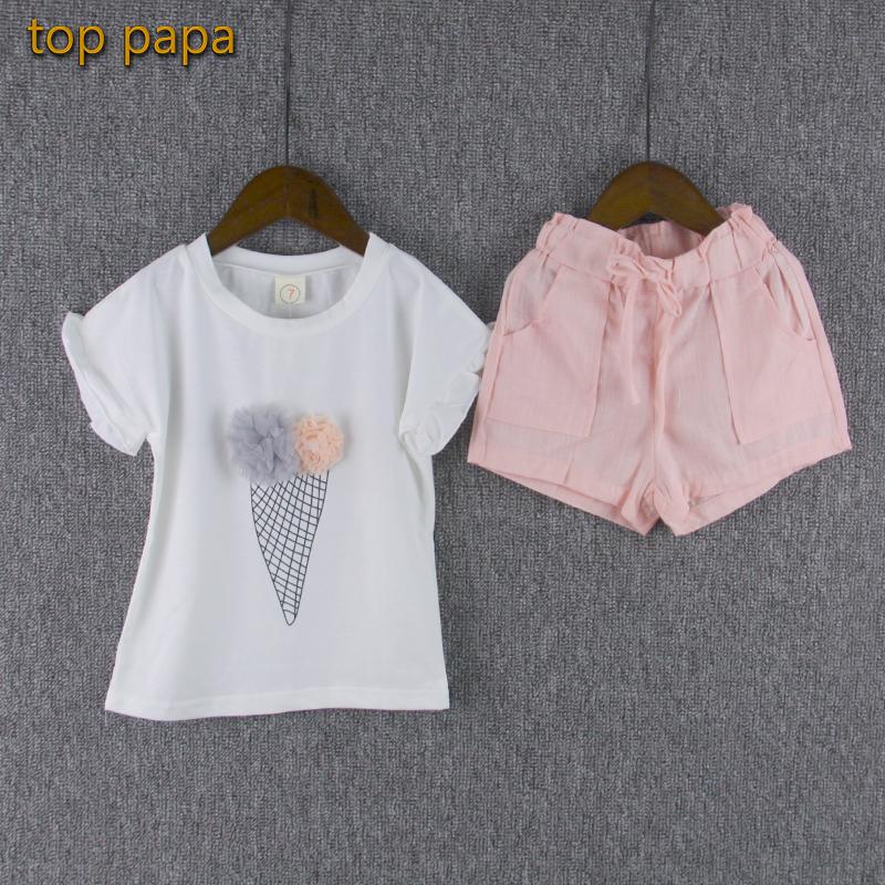 Top Papa Children Clothing Set Pink Pants Suit Girls Short Sleeve White T-shirt Stereo Ice Cream Summer(China (Mainland))