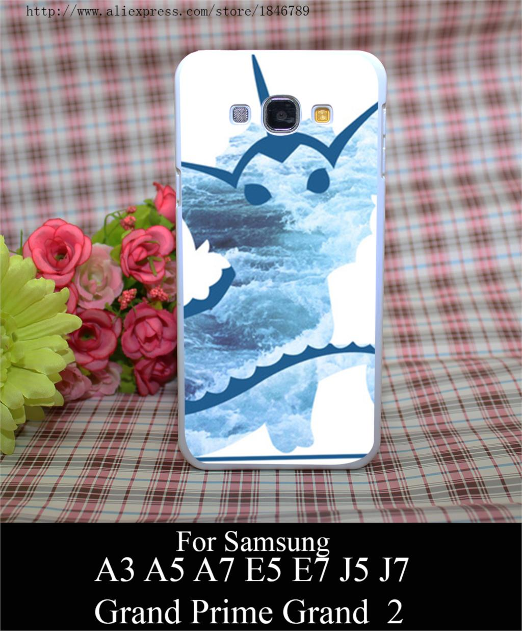 vaporeon p waves Style White Hard Case Cover for Samsung A3 A5 A7 A8 E5 E7 J5 J7 Grand Prime 2 G530(China (Mainland))