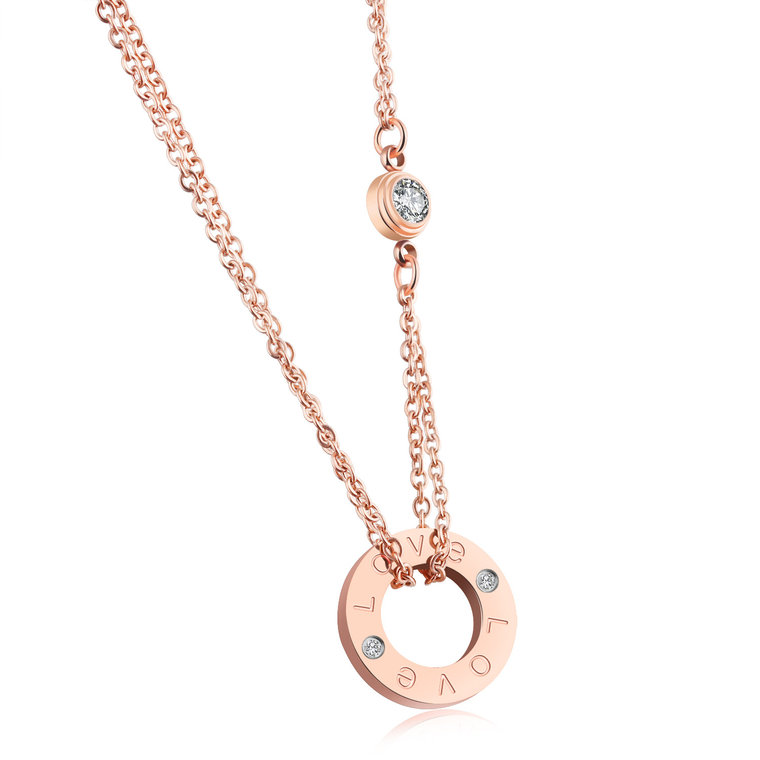 love letter circle inlaid zircon necklace titanium steel rose gold clavicle pendant female necklace for valentines day