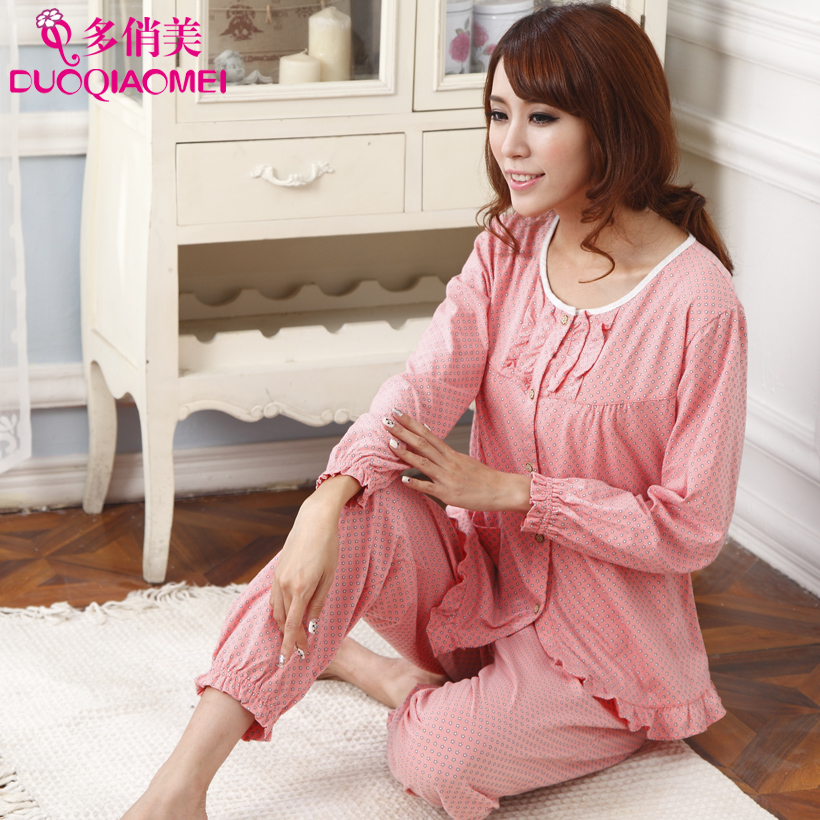 People casual lounge 100% cotton trousers long-sleeve plus size cardigan female sleepwear spring autumn set - LL fashion show store