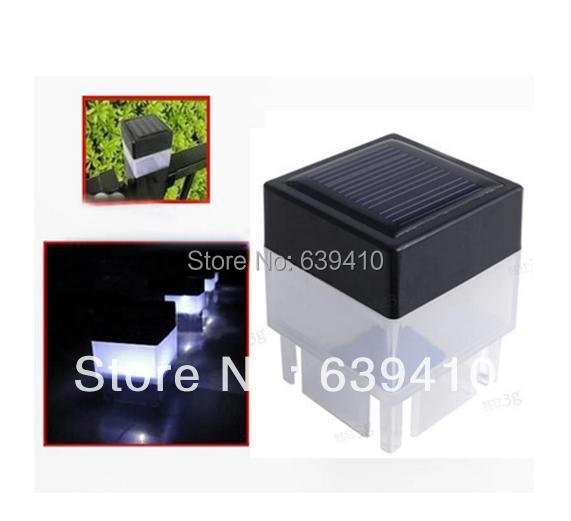 5pcs/lot, Solar Powered Fence Post Garden Outdoor LED White Light/lamp free shipping(China (Mainland))