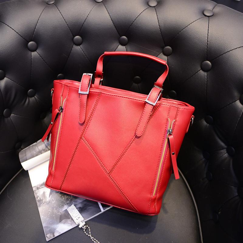 2015 new Korean fashion pu stitching double pull handbag shoulder bag wholesale high-end atmosphere<br><br>Aliexpress