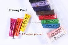 Free Shipping 12 Colors OUMAXI acrylic Paint Nail Art Polish 3D Paint Decor Design Tips Tube#A042(China (Mainland))