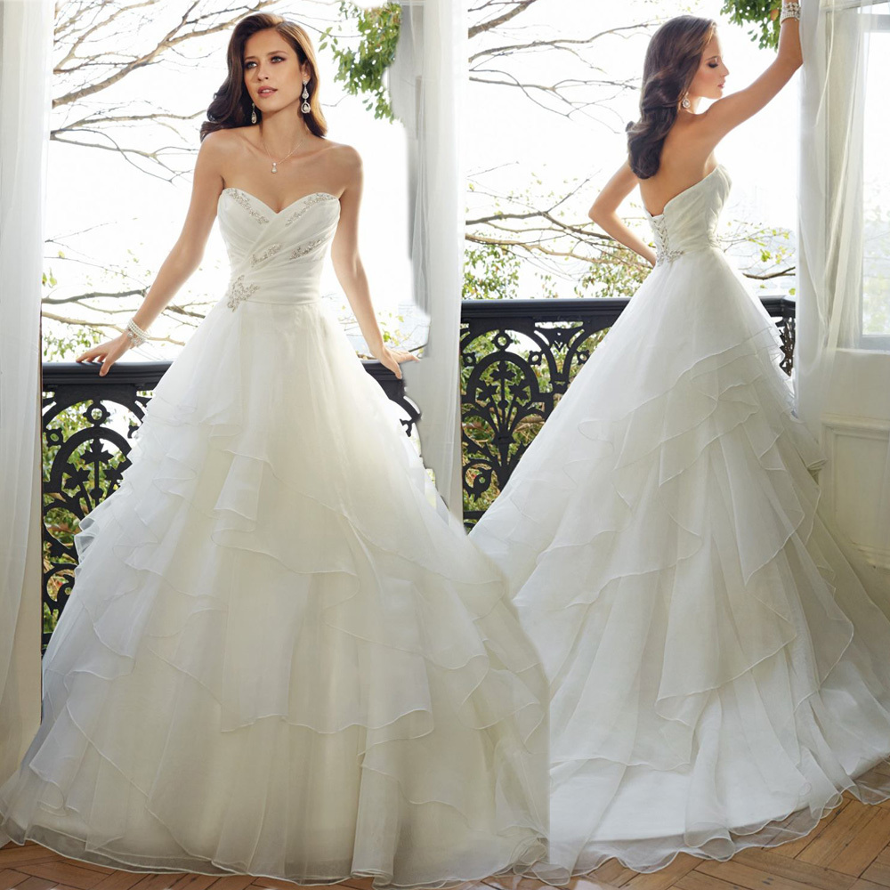 Fashionable beaded tiered ball gown wedding dresses plus for Plus size beaded wedding dresses