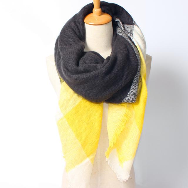 2016 новое поступление зима мода женщин бренд дизайн высокое качество теплый акриловые цветовой гаммы желтый и черный толстый площадь 140 см шарф