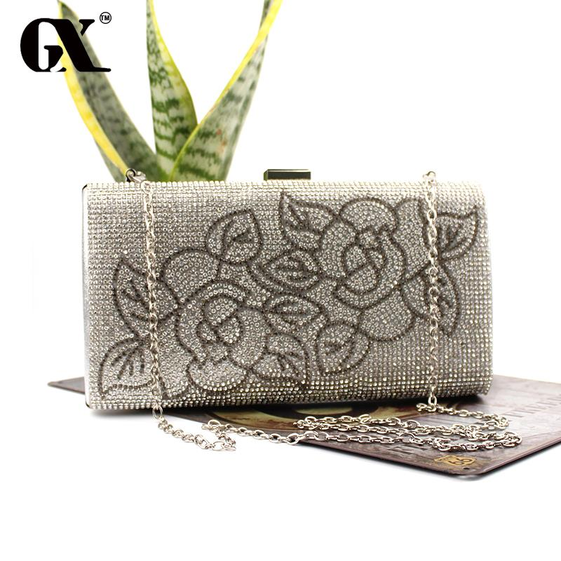 GX Brand Women Ethnic Clutch ROSE Evening Bags Minaudiere Clutch Floral Embroidered Clutch Small Chain Shoulder Messenger Bags(China (Mainland))