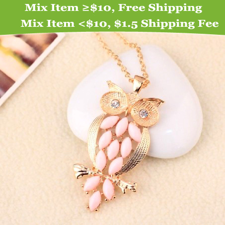2014 New Design Vintage Pink Gem owl chain long necklace jewelry for women Ancient Retro Owl
