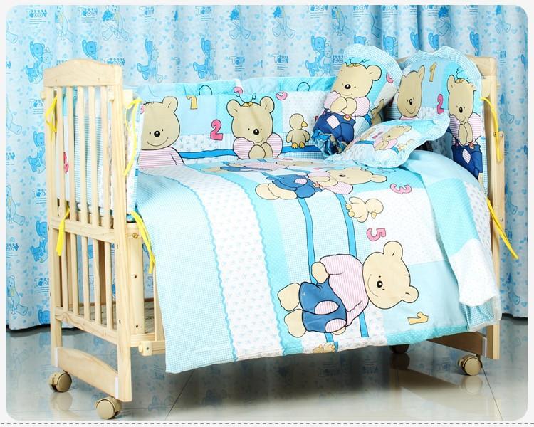Promotion! 7pcs Baby bedding sets Bed set in the cot Bed linen for children Quilt  (bumper+duvet+matress+pillow)<br><br>Aliexpress