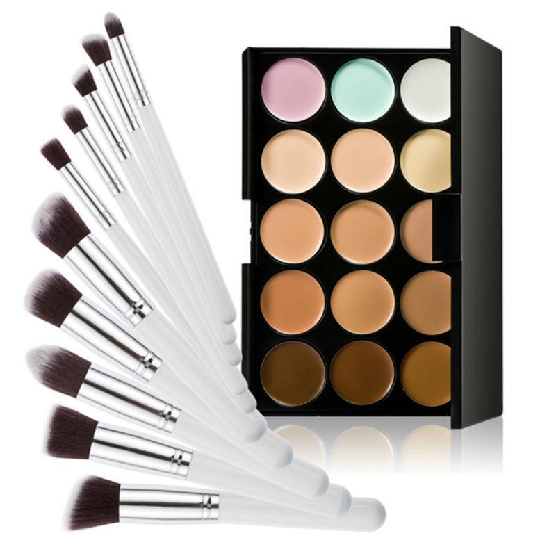 15 Colors Contour Cream Makeup Concealer Palette 10pcs Brush White Silver LY4#(China (Mainland))