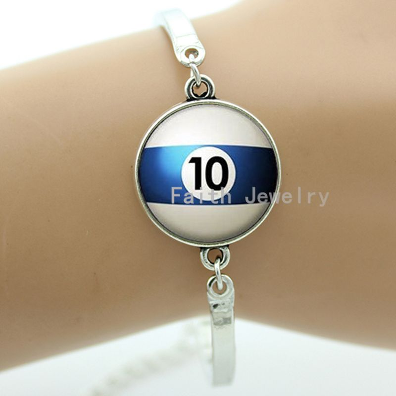 Number 10 pool bracelet, billiard ball 10 bracelet, handmade glass dome metal jewelry, Fathers Day gift, for the best men -993(China (Mainland))