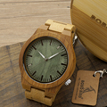 BOBO BIRD 2016 New Arrival Men s Bamboo Wood Wristwatch Ghost Eyes Genuine Leather Strap Glow