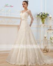 New Fashionable V Neck Long Sleeve Lace A Line Wedding Dress 2015 Elegant Lace Up Full Sashes Crystal Charmeuse Vestido De Noiva(China (Mainland))
