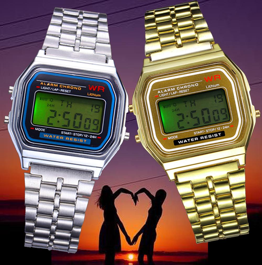 Relogio feminino rectangular watch luxury LED mini watches atmos clock Digital reloj inteligente Golden Electronic Watch saat(China (Mainland))