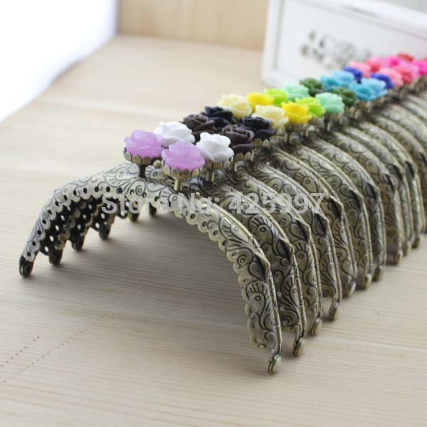 Freeshipping 10.5cm bronze arc rose head Coins purse frame Kiss Clasp Metal-opening Bags accessories 5pcs/lo(China (Mainland))