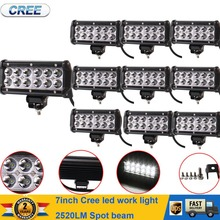 10Pcs 7INCH 36W CREE LED Work Light Bar Spot Offroad SUV Car Driving Lamp